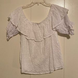 Eyelet lace white top